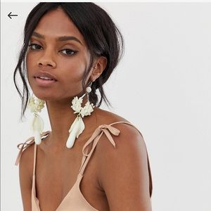 ASOS Floral Statement Earrings, Ivory
